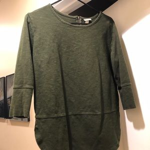 MERONA • Zippered-Back, Quarter-Sleeved Sweater